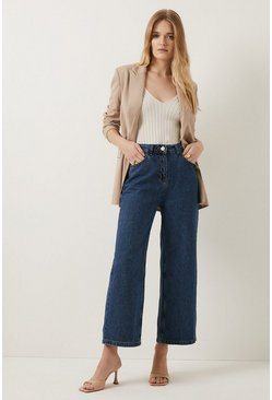 Mid wash Organic Crop Wide Leg Jean