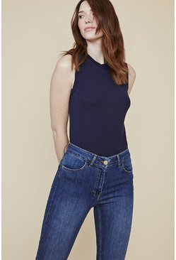 Mid wash Lily Organic High Rise Short Skinny Jean