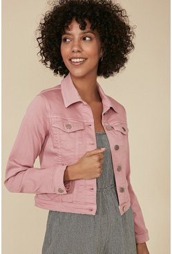 Pink Organic Denim Fitted Jacket