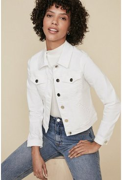 White Organic Denim Fitted Jacket