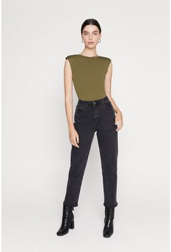 Khaki Shoulder Pad Top
