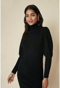 Black Plain Puff Sleeve Shoulder Dress