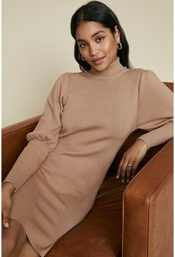 Camel Plain Puff Sleeve Shoulder Dress