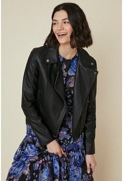 Black Premium Faux Leather Biker Jacket