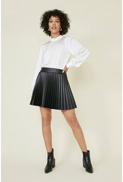 Black Pleated Faux Leather Mini Skirt