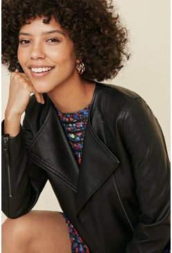 Black Collarless Faux Leather Jacket