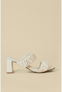 Off white Ruched Double Strap Heeled Mule