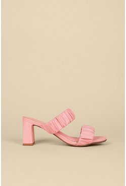 Pink Ruched Double Strap Heeled Mule