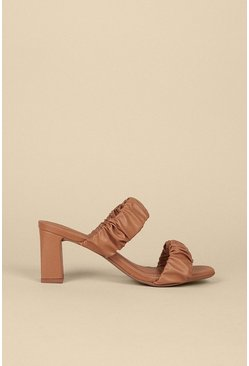 Tan Ruched Double Strap Heeled Mule