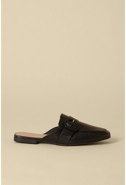 Black Backless Slip On Buckle Mule
