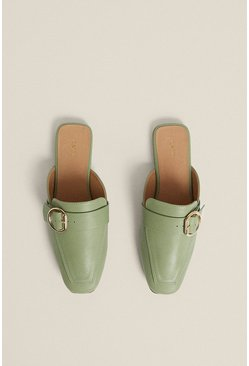 Pale green Backless Slip On Buckle Mule