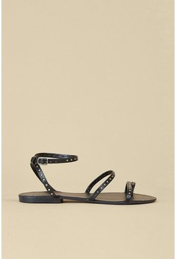 Black Studded Strappy Sandal