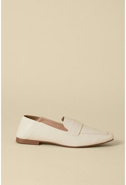 Cream Buckle Detail Loafer