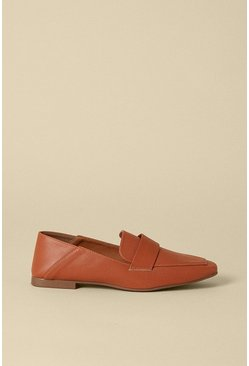 Tan Square Toe Collapsible Back Loafer