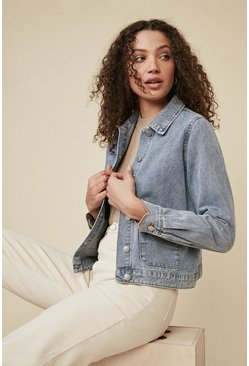 Mid wash Scallop Pocket Denim Jacket