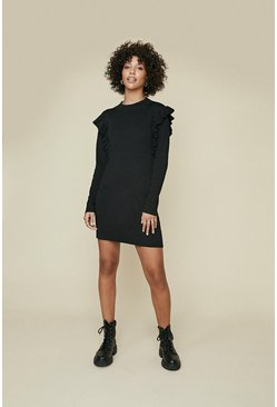 Black Ruffle Knit Dress