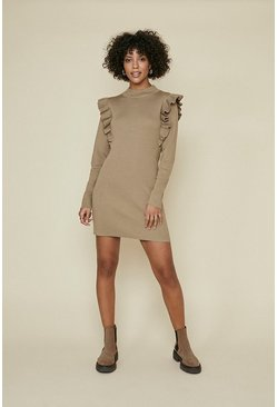 Camel Ruffle Knit Dress