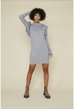 Grey Ruffle Knit Dress