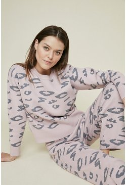 Animal Knitted Loungewear Two Piece Set
