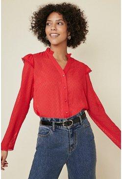 Red Trim Detail Dobby Blouse