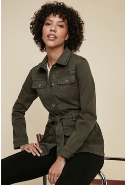Khaki Pocket Detail Belted Denim Jacket