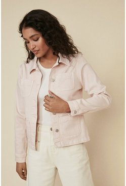 Pink Pocket Detail Denim Jacket