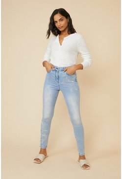 Pale wash Butterfly Embroidered Jean