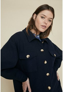 Dark navy Longline Button Detail Jacket