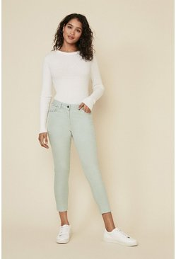 Khaki Studded Pocket Detail Skinny Jean
