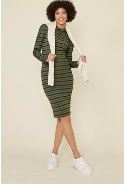 Khaki Rib Stripe Polo Midi Dress