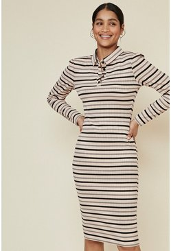 Multi Rib Stripe Polo Midi Dress