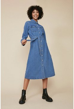Mid wash Denim Midi Shirt Dress