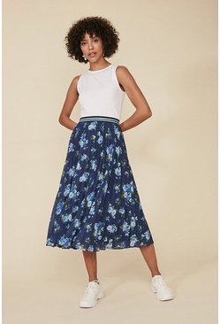 Blue Floral Pleated Ribbed Trim Midi Skirt