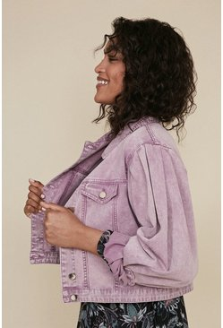 Lilac Acid Wash Denim Jacket