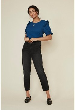 Blue Textured Jersey Frill Sleeve Top