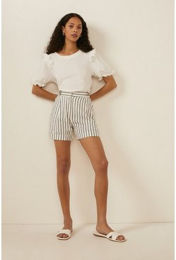 Ivory Textured Jersey Frill Sleeve Top