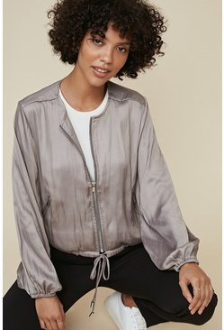 Oyster gray Relaxed Satin Jacket