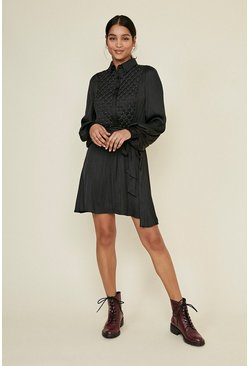 Black Quilted Beaded Shirt Skater Dress