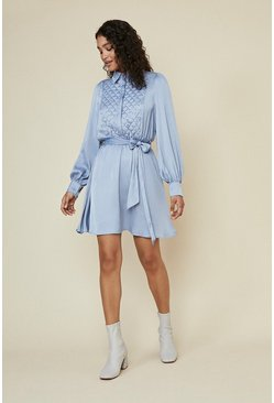Blue Quilted Beaded Shirt Skater Dress