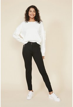 Black Zip Front Ponte Trousers