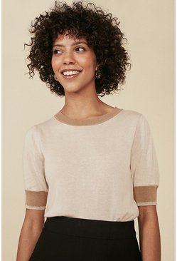Camel Colourblock Knitted Top