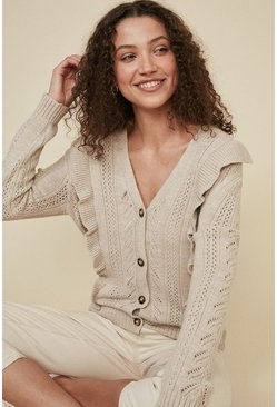 Brown Ruffle Stitch Detail Cardigan