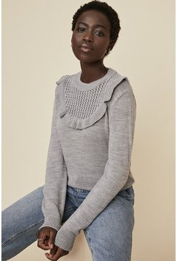 Grey Ruffle Yoke Jumper