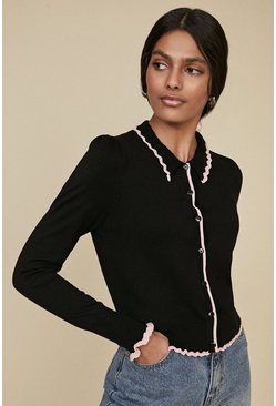 Black Pointelle Collared Cardigan