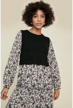 Multi Knitted Floral Midi