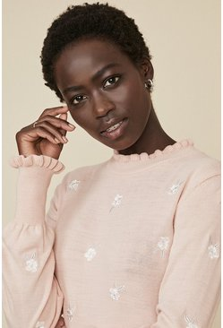 Blush Embroidered Knit Jumper
