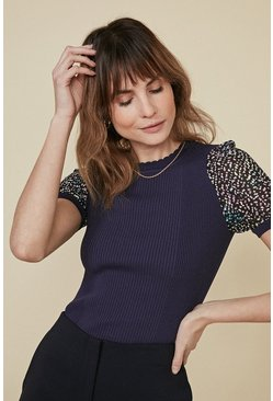 Navy Printed Woven Sleeve Top