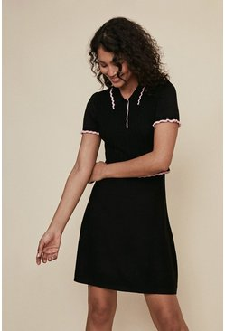 Black Pointelle Collared Skater Dress