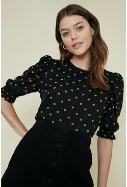 Black Flocked Heart Peplum Top