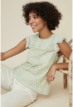 Pale green Lace Frill Top